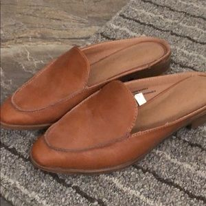 Brown Faux Leather Mules
